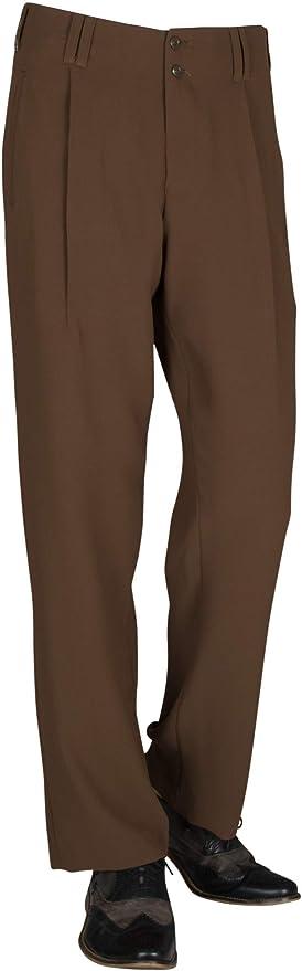 Pantalones De Hombre En Color Marron Con Perneras Rectas Estilo Retro Vintage Pantalones De Tela De Negocios Para Hombre Con Pliegues En La Cintura Modelo Swing Amazon Es Ropa Y Accesorios