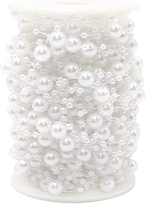 100 Feet Pearl Garland Roll of Beads Pearl Beads Chain Beaded Fishing Line Pearl Strands Bead Roll for Wedding Decorations Bridal Bouquet Party Decorations or Crafts Pink