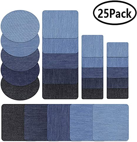 No-sew Shades Assorted Cotton Jeans Sewing Repair Kit Rectangle-Small, Black 5pcs Denim Iron-on Patches for Jeans Pants