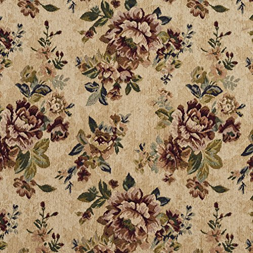 Vintage Beige and Burgundy Floral Chenille Upholstery Fabric by the yard