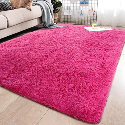 YJ.GWL Soft Shaggy Area Rugs for Bedroom Fluffy Living Room Rugs Anti-Skid Nursery Girls Carpets Kids Home Decor Rugs 3…