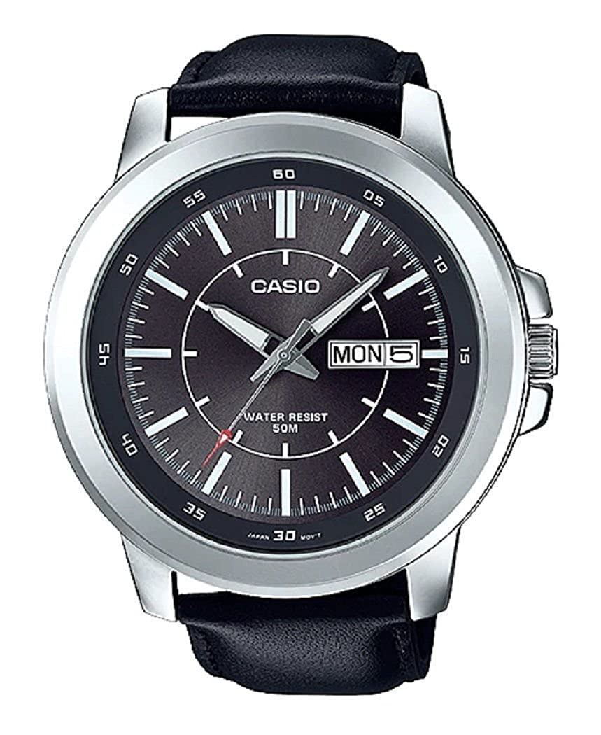 Amazon.com: Casio MTP-X100L-8EV Mens Black Leather Watch, Day/Date (Large): Watches