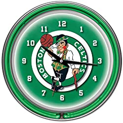 NBA Boston Celtics Chrome Double Ring Neon Clock, 14