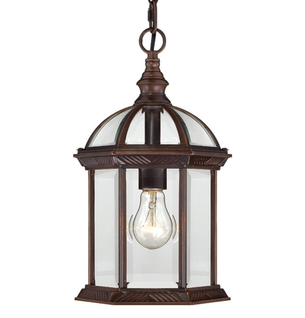 One Light Hanging Lantern 100 Watt A19 Max. Clear Beveled Glass Tea Bronze Outdoor Fixture