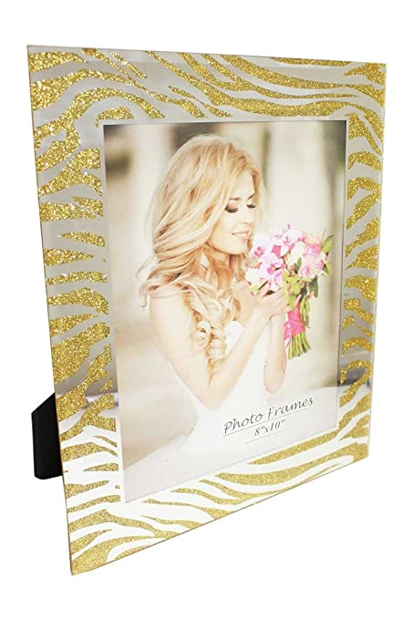 Amazon.com - 6 Pieces Glass Picture Frame Zebra With Mirror and Gold ...