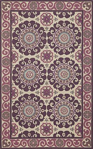 18th Century Rugs - Momeni Rugs SUZHKSZI-1PUR2030 Suzani Hooks Collection, 100% Wool Hand Hooked Traditional Area Rug, 2' x 3', Purple