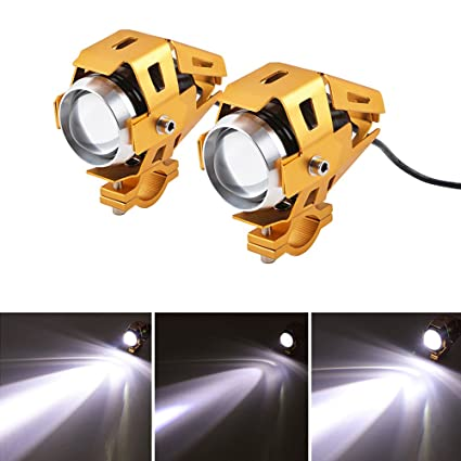 Motorcycle Headlights LED 3000LM Motorbike Front Spot Lights Low Beam Flashing