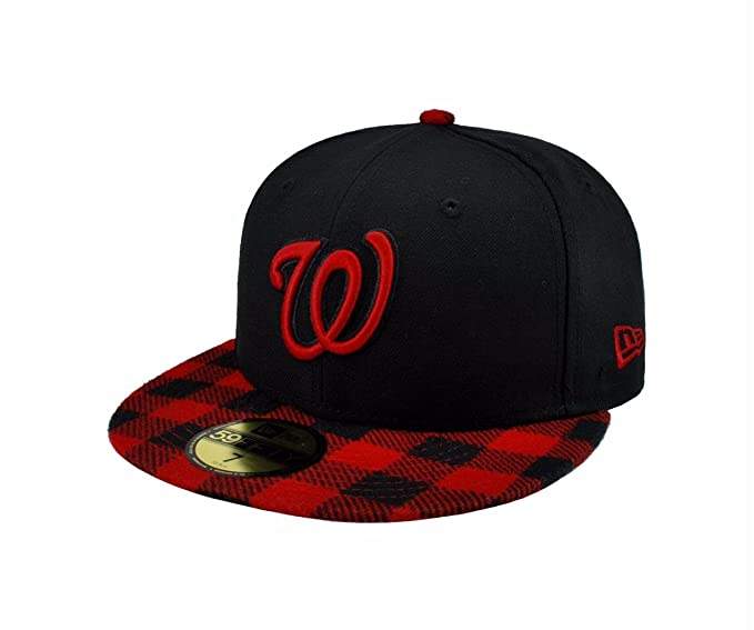 pretty nice bd1e5 006c3 NEW ERA 59fifty Mlb Washington Nationals Hat Premium Fitted Black with Red  Cap (6 7