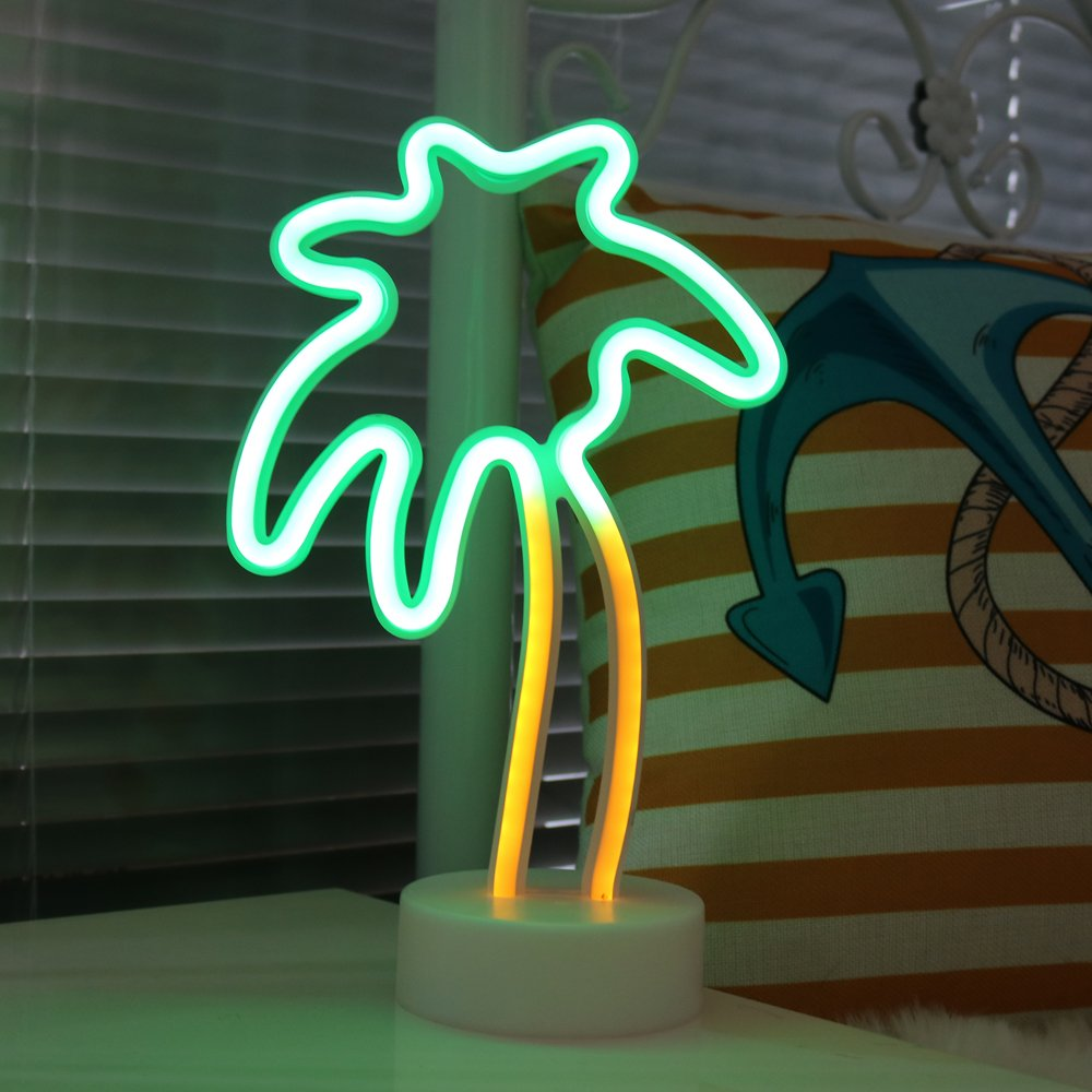 DELICORE Coconut Palm Tree Neon Signs, LED Neon Light Sign with Holder Base for Party Supplies Table Decorations, Seasonal Home Decor Children Kids Gifts (Palm Tree with Holder)