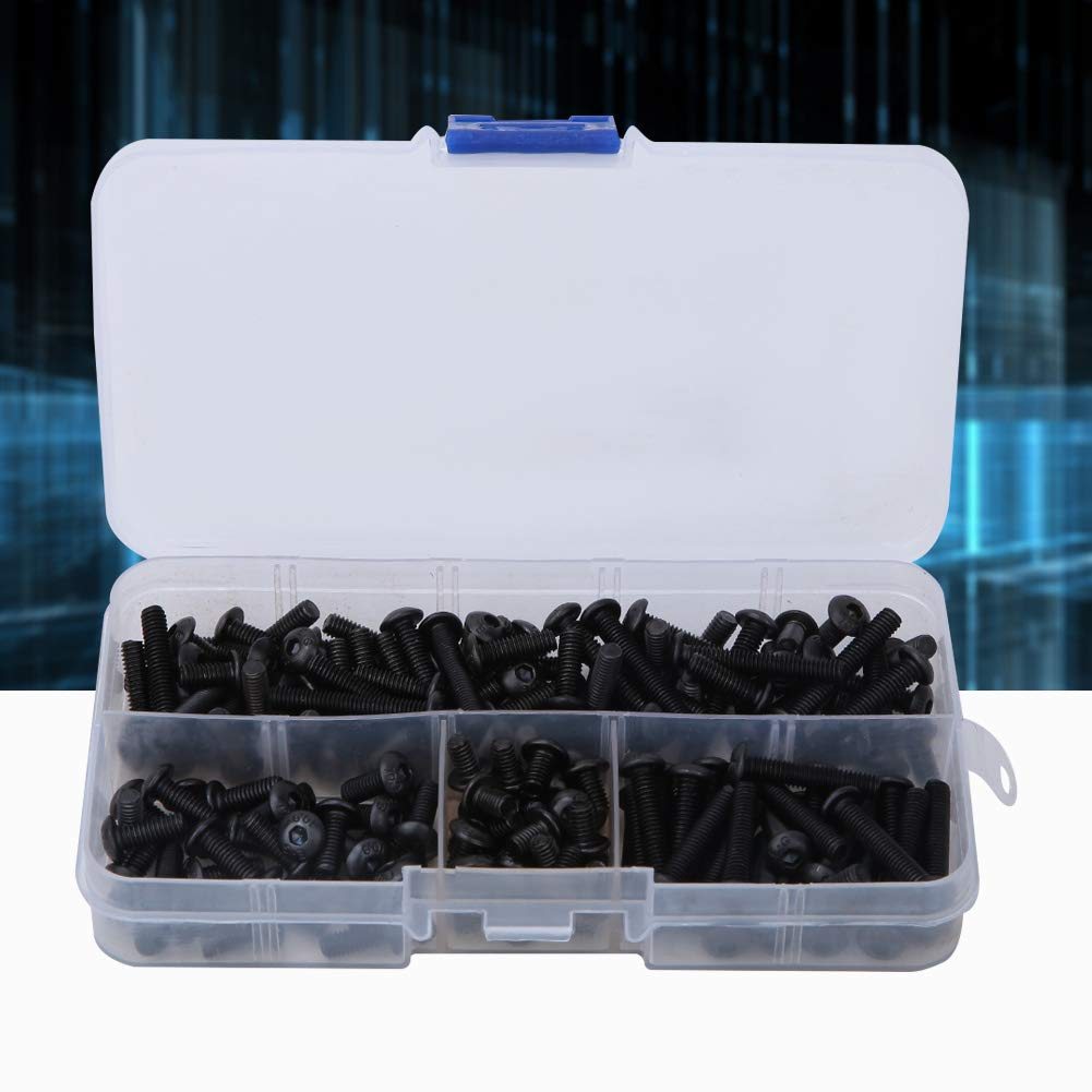 Carbon Steel Hexagonal Socket Bolt Nut Kit,for Automotive Maintenance 170PCS M4 Round Head Screw Household Use Machine Repair M4