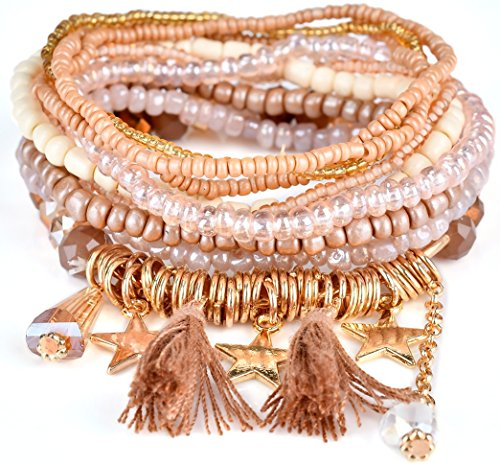 Akvode Set of 9 Women's Fashion Bohemian Style Tassel Bracelets Pendant Multicolor Pearl bracelets (Pearl Multi Color Bracelet)