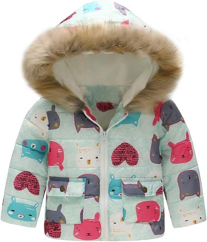 WARMSHOP Boys Girls Down Coat,2018 Latest Girl Boy Fur Winter Thick Warm Cartoon Cat Print Zipper Hooded Jacket Outwear