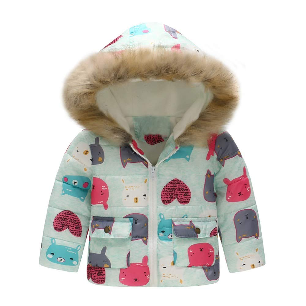 WARMSHOP Boys Girls Down Coat,2018 Latest Girl Boy Fur Winter Thick Warm Cartoon Cat Print Zipper Hooded Jacket Outwear China