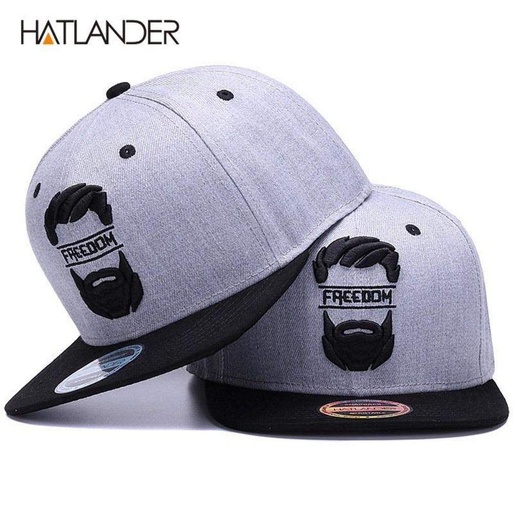 HATLANDER Original Snapback Cap Men Flat Brim Bone Baseball caps Embroidery Mustache Mens hat Youth Street Ware Cool Hip hop Cap