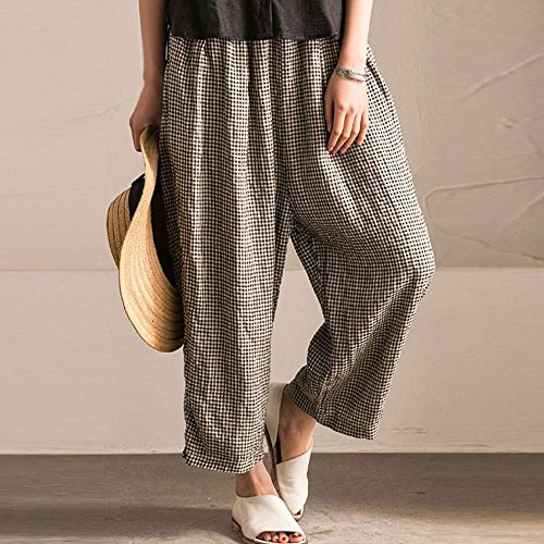a36a045138c BUYKUD Women s Summer Casual Loose Lattice Cotton Linen Pants best ...