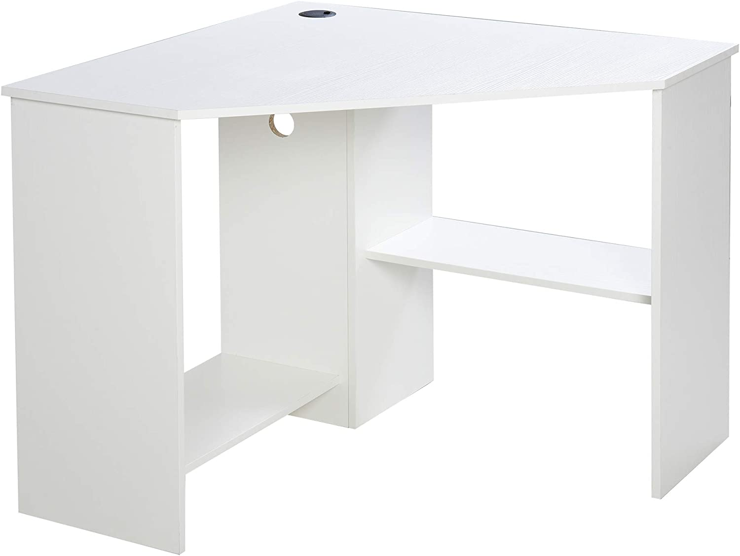 HOMCOM Multi-Tier Corner Computer Desk Writing Table for Home & Office with Multiple Shelves Built for Storage, White