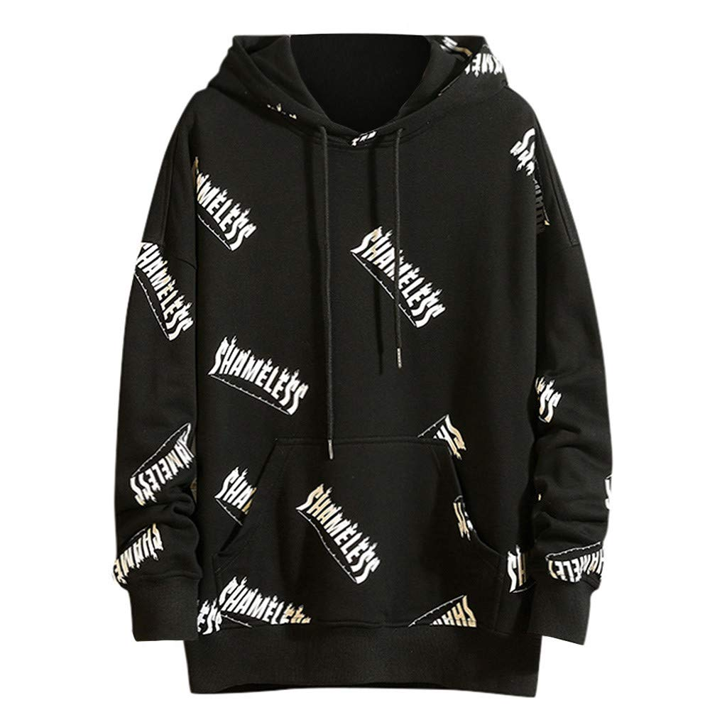 AcisuHu New Hot Young Men's Hoodies Casual Printed Stripe Knit Jersey Pullover Hoodie Long-Sleeve Tee