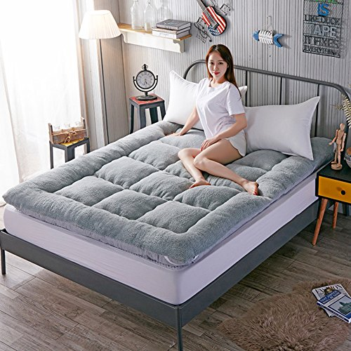 Lj Xj Thick Warm Tatami Mattress Hygroscopic Breathable Mattress Topper Durable Tatami Mat Soft Foldable Floor Mat Grey 90x200cm 35x79inch
