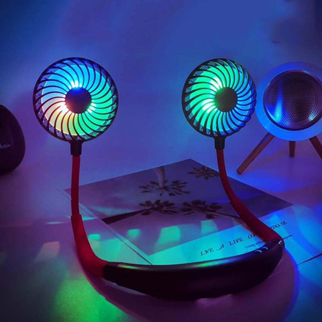 YDZM Ventilador portátil,Mini Ventilador de Cuello USB,Ventilador de Correa para el Cuello Recargable,luz LED de 3 velocidades,para Deportes de Viaje,Oficina de Camping al Aire Libre (Azul)