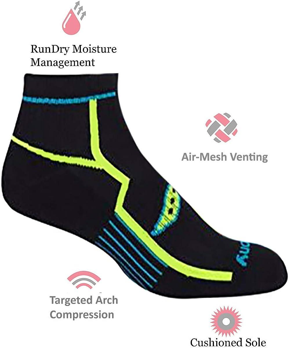 Amazon.com: Saucony Men's Multi-Pack Bolt Performance Quarter Socks, Black  (6 Pairs), Shoe Size: 8-12: Clothing