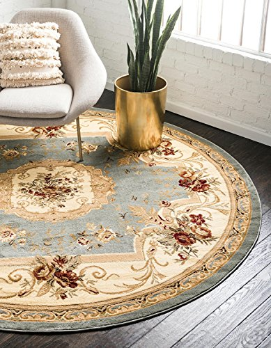 Unique Loom Versailles Collection Traditional Classic Light Blue Round Rug (8' 0 x 8' 0)
