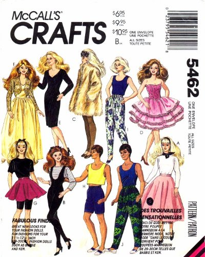 Barbie Ken Dolls Clothes McCall's 5462 Sewing (Barbie Clothes Sewing Patterns)