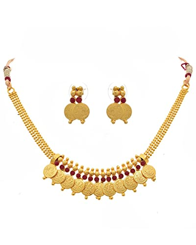 449c8c707a0 Buy BFC- Coin Laxmi Red Necklace Set One Gram Gold Plated for Woman ...