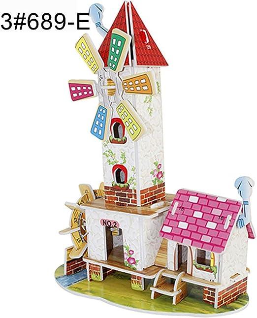 Children Boy Girl DIY House 3D Puzzle Toys Wooden Children Intelligence Toys G
