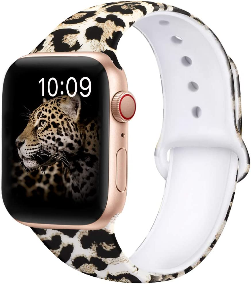 OriBear Compatible With Apple Watch Band 44mm 42mm Elegant Floral Bands For Women Soft Silicone Solid Pattern Printed Replacement Strap Band For Iwatch Series 4/3/2/1 M/L Sexy Leopard