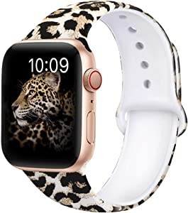 OriBear Compatible With Apple Watch Band 44mm 42mm Elegant Floral Bands For Women Soft Silicone Solid Pattern Printed Replacement Strap Band For Iwatch Series 4/3/2/1 S/M Sexy Leopard