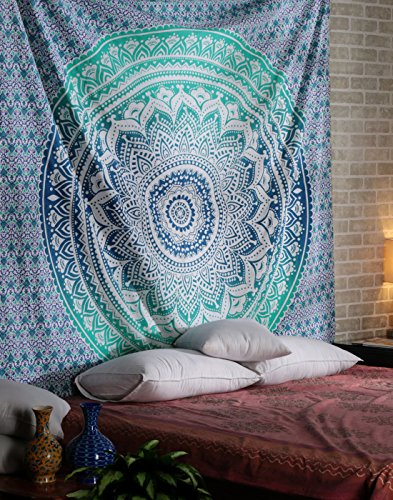 Green Ombre Mandala Tapestry Pure Cotton Home Decorative Wall Hanging Large Hippie Bohemian Tapestries Indian Bed Spread Sheet Ethnic Dorm Decor by Rajrang