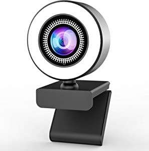 Retail Sign Systems Streaming Webcam with Ring Light and Microphone,2K Web Camera for PC/MAC/Laptop/Desktop,Wide Angle Web Camera for YouTube,Skype,Zoom,Xbox One Video Calling,Studying and Conference