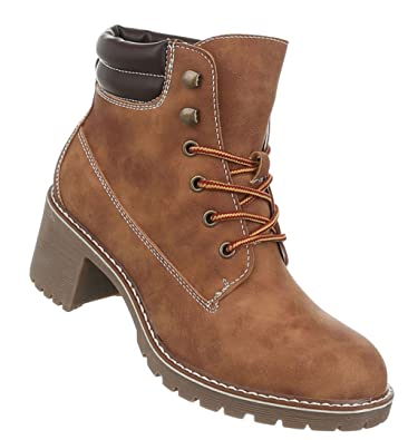 Damen Schuhe Stiefeletten Used Optik Schnürer Boots  Amazon.de ... 8606ef898a