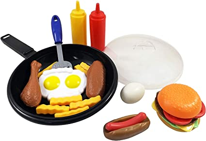 Fisher Price Fun with Food 2 french fries stake hot dog hamburger part dinner