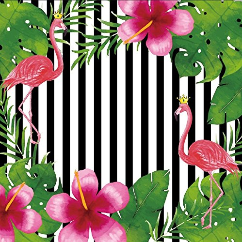Yeele Backdrops 7x7ft /2.2 X 2.2M Flamingo Pink Flower Green Leaf Black and White Vertical Stripes Pictures Adult Artistic Portrait Photoshoot Props Photography Background (Stripes Graduation Announcements)