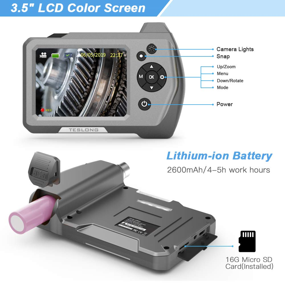 Hand Industrie-Endoskop-Inspektionskamera mit 3,5- Teslong Endoskopkamera 1M