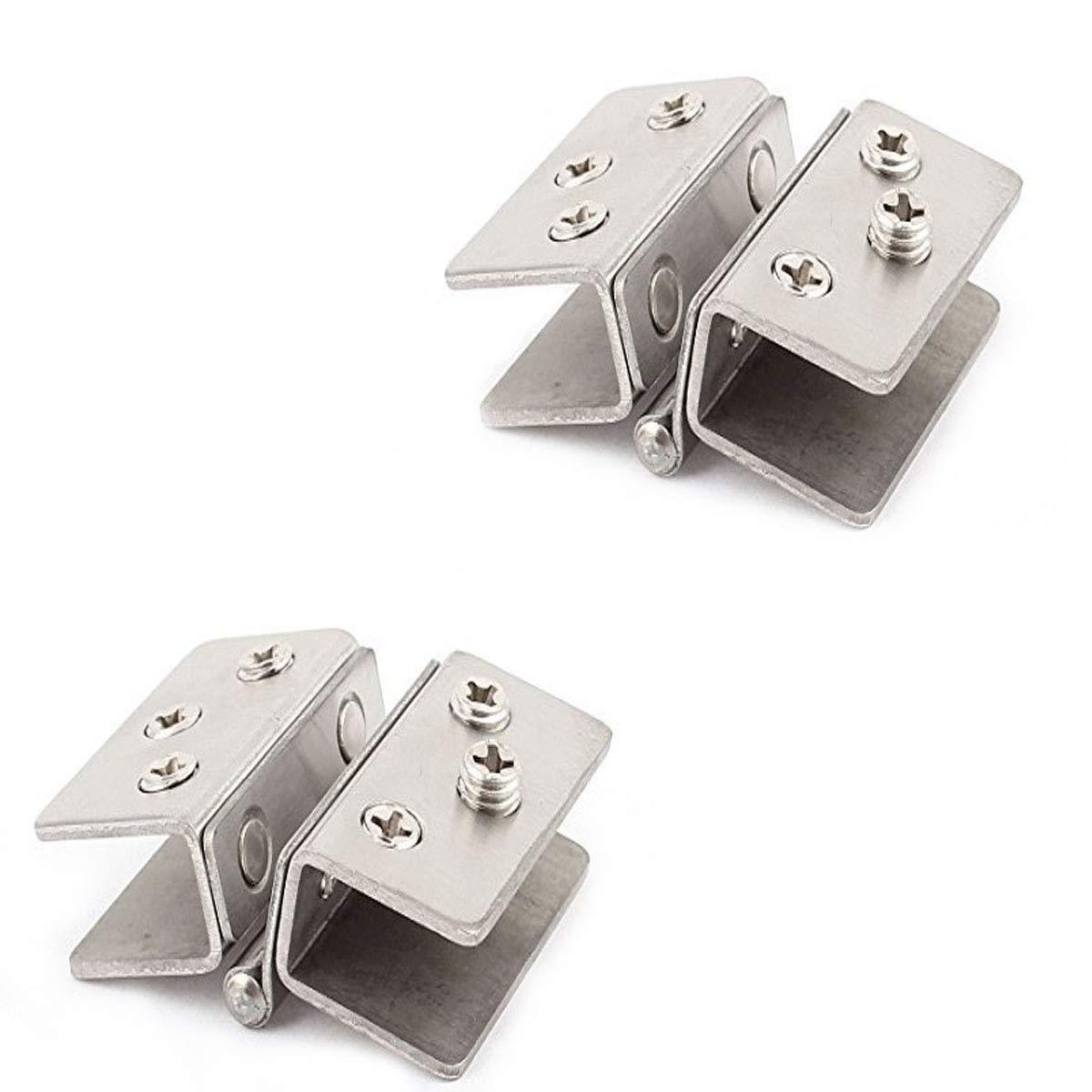 COMOK Adjustable Silver Tone Glass Door Double Clip Hinges 2PCS