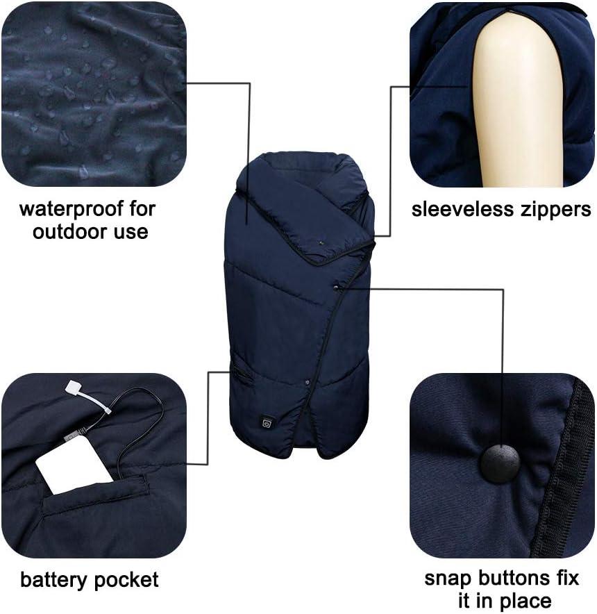 Couverture chauffante multi-usage bureau /étanche stade portable couverture de camping avec 3 niveaux de chauffe maison sans bruit chauffage USB rapide pour ext/érieur