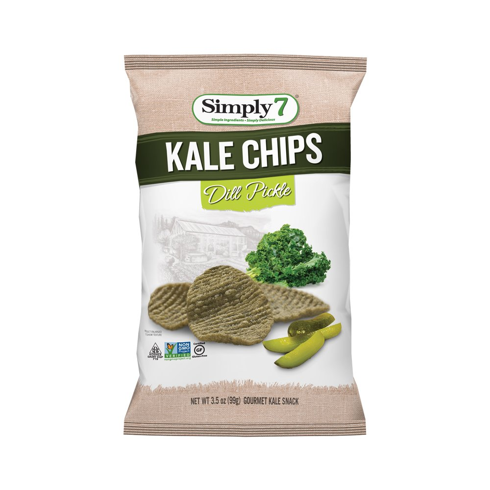 Simply7 Gluten Free Kale Chips, Dill Pickle, 3.5 Ounce (Pack of 12) by Simply 7