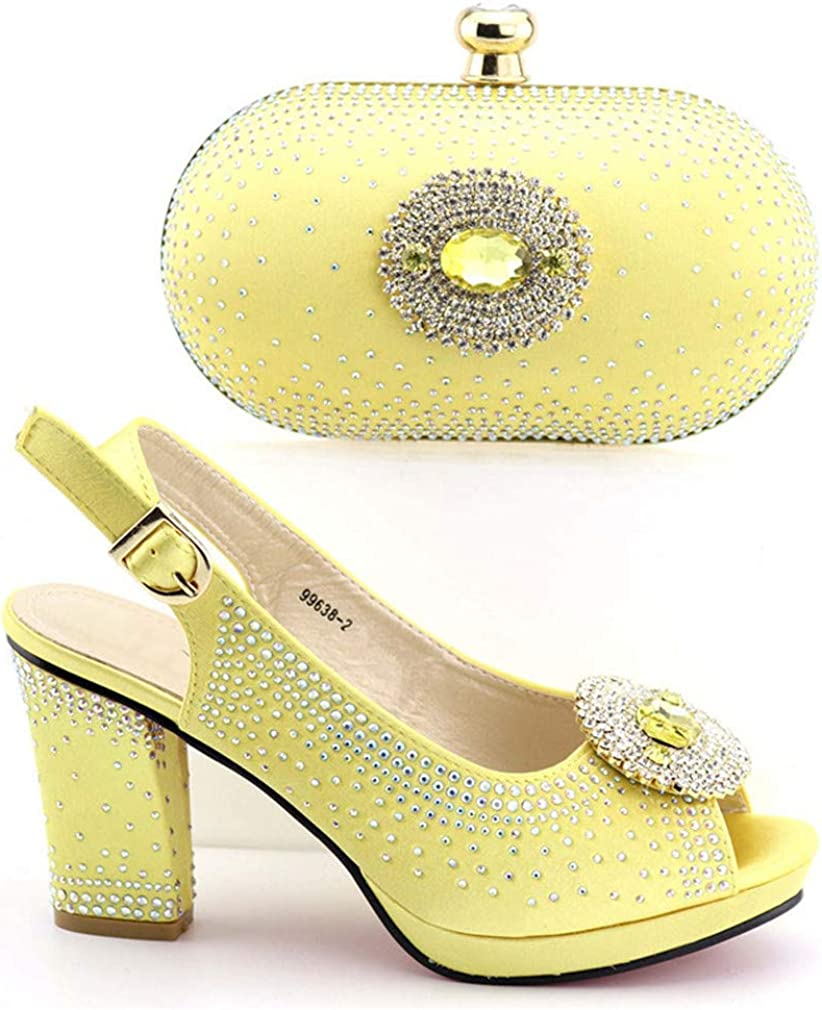 664-8 Gold Shoes with Matching Bag for Woman Shoes and Bag Set Wedding Shoe and Bag Gold 42