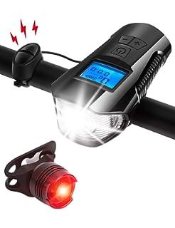 AIRSOFTPEAK Bike Light Set Bike Lights Front and Back Bicycle Speedometer Bike Light Odometer USB Rechargeable