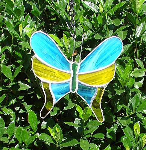 (Handmade Stained Glass Butterfly Large Blue and Yellow Garden Ornament Sun Catcher Panel )