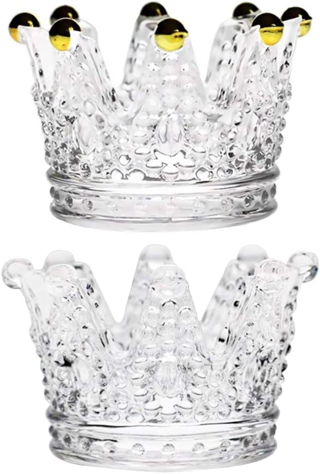 BESPORTBLE 2Pcs Glass Crown Ashtray Desktop Smoking Ash Tray Mini Crown Candles Holder Glass Jewelry Box Makeup Organizer for Dinner Table Wedding Centerpiece Decoration