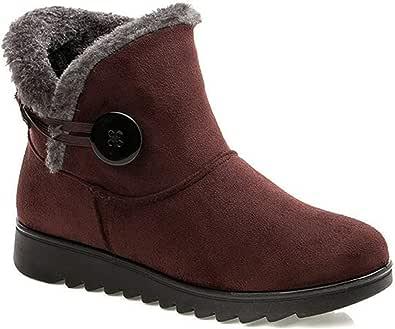 2020 Zapatos Invierno Mujer Botas de Nieve Casual Calzado Piel Forradas Calientes Planas Outdoor Boots Antideslizante Zapatillas para Mujer
