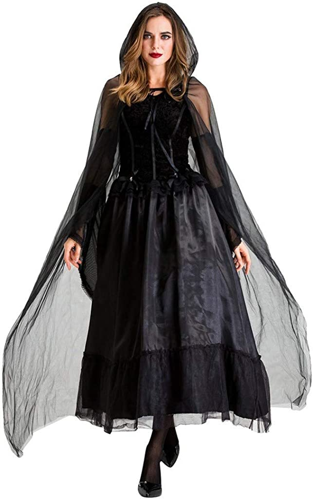 Voicry Frauen Cosplay Weinlese Mediaeval Mysterious Horror Black Witch Swing-Kleid