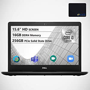 """Dell Inspiron 15.6"""" HD Laptop, Intel Core i3-1005G1 Processor, 16GB DDR4 Memory, 256GB PCIe Solid State Drive, WiFi, Webcam, Online Class Ready, HDMI, Bluetooth, KKE Mousepad, Win10 Home, Black"""