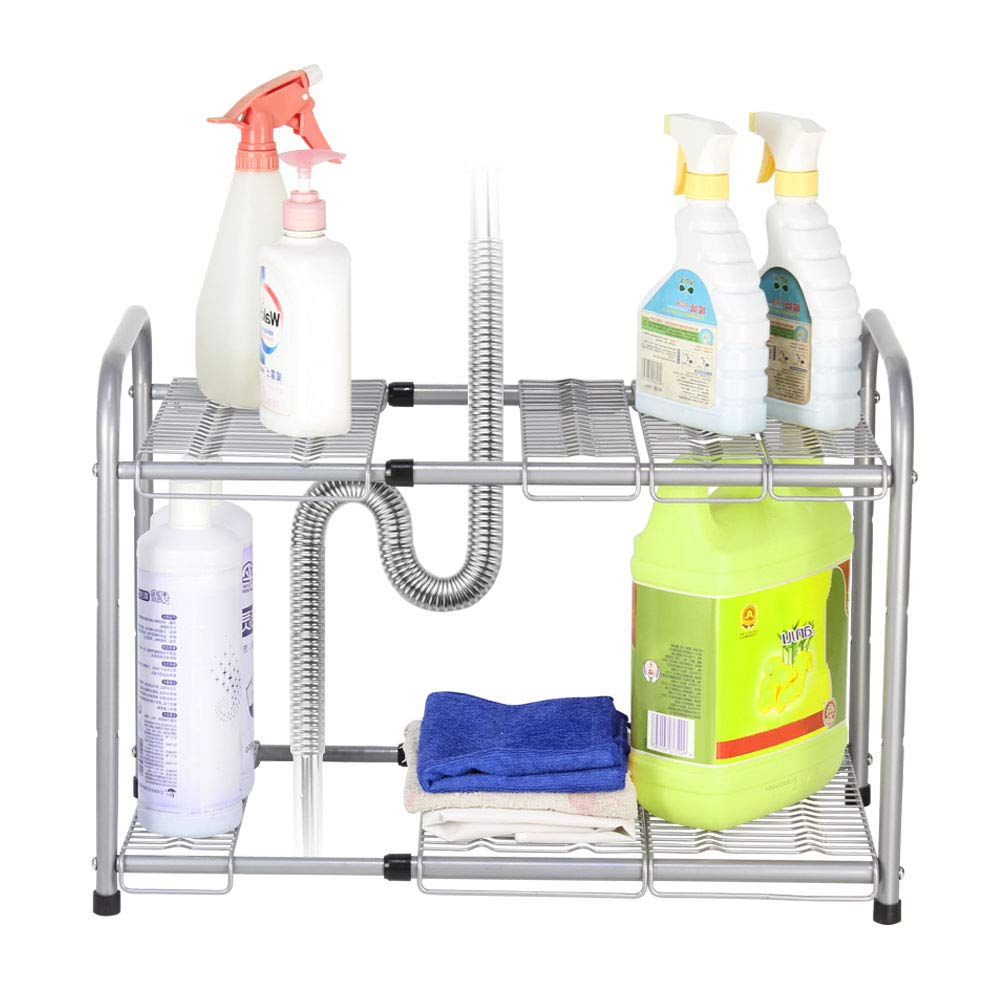 Under Sink Shelf Organizer 2 Tier Expandable Storage Rack for Bathroom Kitchen Cabinets (Expand from 15'' to 27''), Sliver by NEX