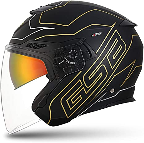 Yyou 3/4 Abierto Motocicleta de la Cara del Casco Jet, Harley Motociclismo Seguridad Caps Cuatro Estaciones Casco Protector Hombres Mujeres, Aprobado por el Dot: Amazon.es: Deportes y aire libre