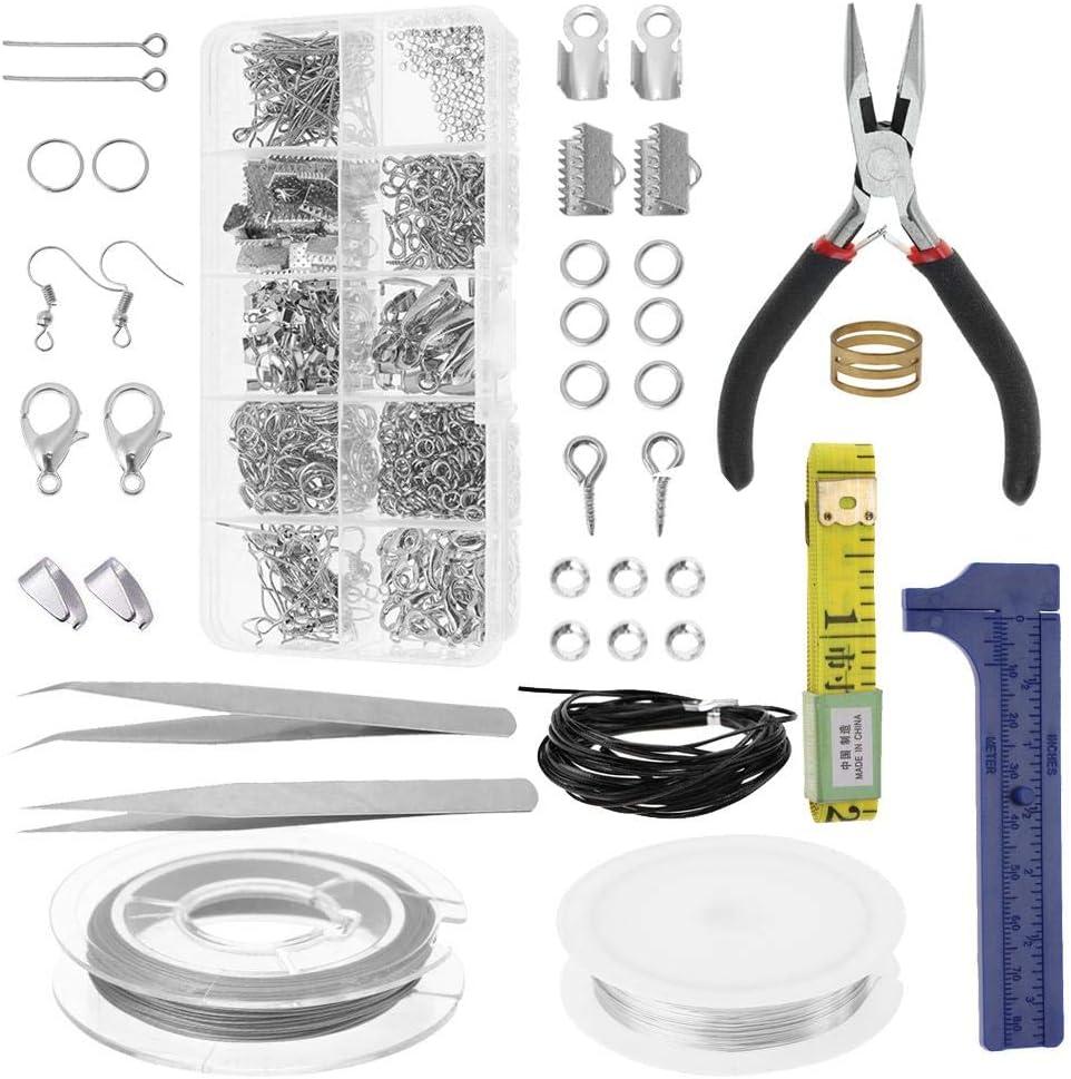 Conjunto de accesorios de joyería, 10 accesorios de kit de herramientas de inicio de joyería de rejilla incluye cinta métrica suave, alicates, pinzas, ganchos, cierres de langosta y alambre