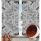Exclusive Indian Black Hamsa Hand Mandala Tapestry Large Wall Hanging Hippie Window Curtain Valances Room Divider 2 Pc Panel Set , Cotton Window Treatments